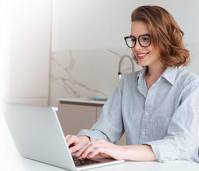 Woman taking an aptitude test
